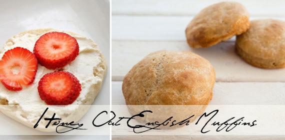 Honey oat English muffins