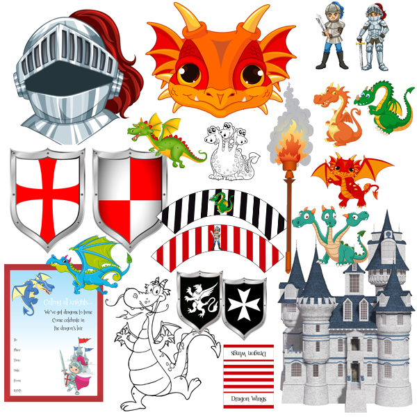 Printable Party Pack Dragons Amp Knights