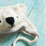 Knitted polar bear hat