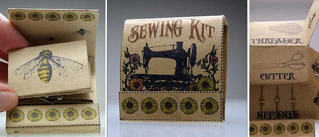 DIY matchbox sewing kit