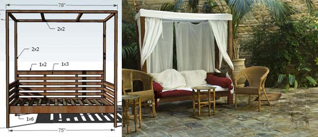 Brand-new DIY outdoor daybed with canopy JI64