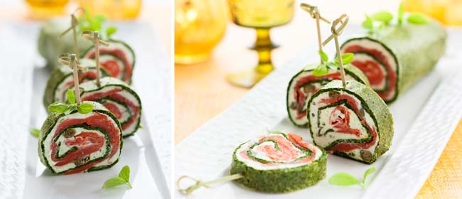 Spinach and smoked salmon rolls