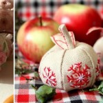 DIY embroidered apple decoration
