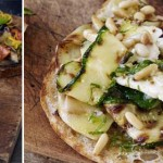 Toasted pide with grilled courgettes, feta and pine nuts
