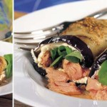 Eggplant and wood-roasted salmon wraps