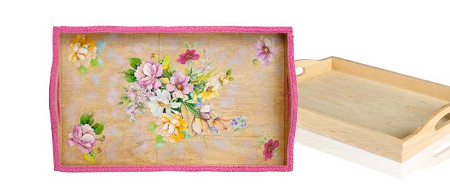 Decoupage a wooden tray