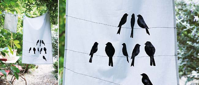 DIY printed tea towel