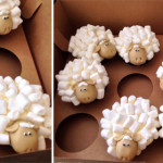 Flock of sheep cupcakes
