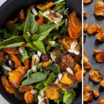 Walnut and rocket salad with carrot chips