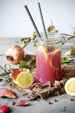 Pomegranate and lemon mocktail