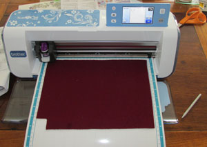 Felt on cutting mat, ready for ScanNCut to cut
