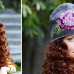 Crochet hat with cross stitch rose