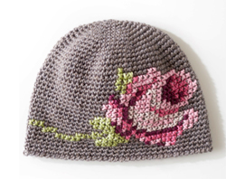 Crochet Rose Pattern For Hat : Crochet hat with cross stitch rose