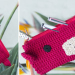 Crochet a monkey pencil case