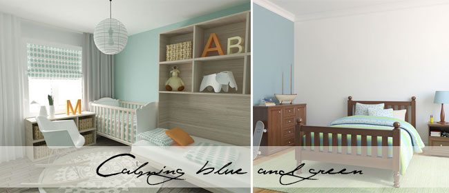 7 Inspiring Kid Room Color Options For Your Little Ones: Blue-green-decorating-writing.jpg