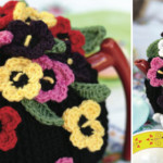 Crochet a pansy-covered tea cosy