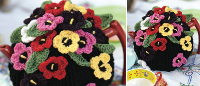 Crochet A Pansy Covered Tea Cosy