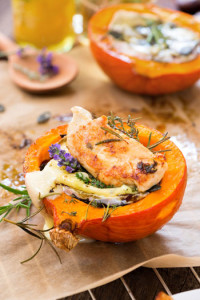 Roasted butternut pumpkin with camembert and chicken