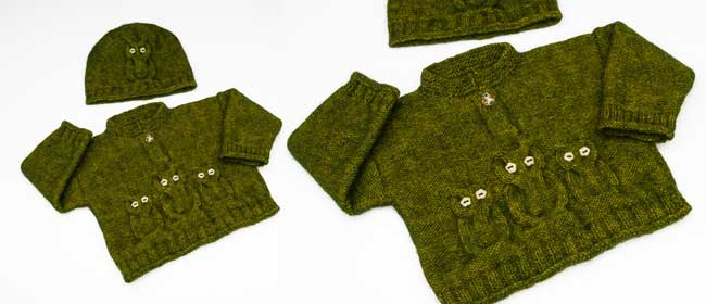 Knitted-toddler-cardigan-hat