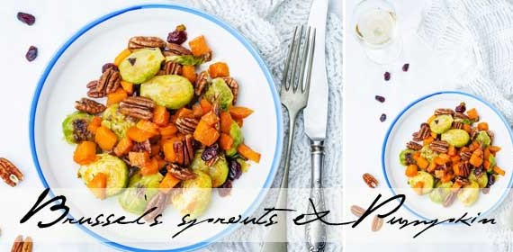 Roasted Brussels sprout, pumpkin & pecan salad