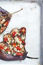 Eggplant with tomatoes, walnuts and feta