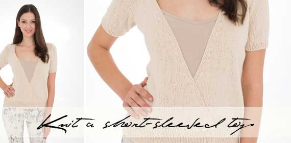 Knit a short-sleeved cross-over top