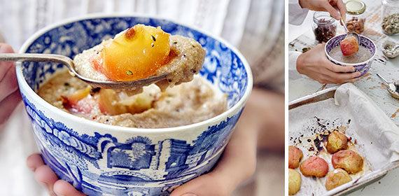 Amaranth porridge and orange-roasted apples