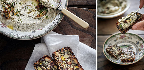 Nut and seed loaf with mung bean hummus